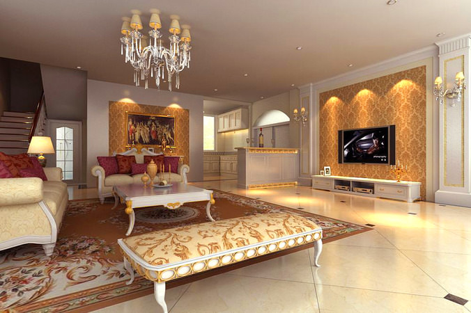 Living Room Interior With Divan 3D Model