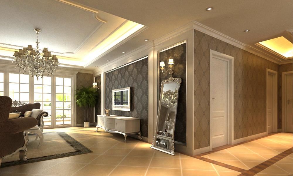 High end living hall interior with mirror 3d model max for Living hall interior