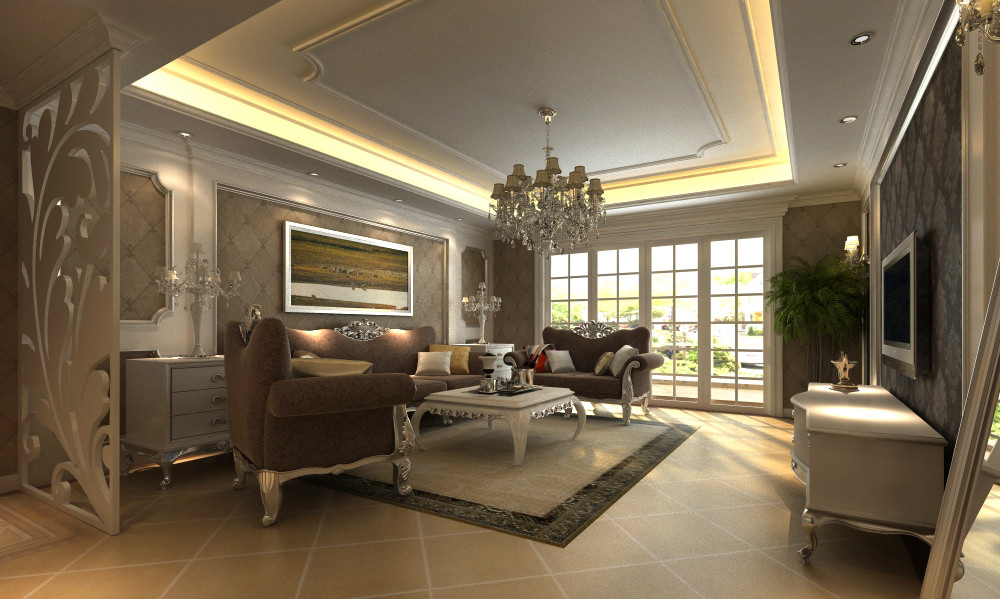 High end living hall interior with mirror 3d model max Model home family room pictures