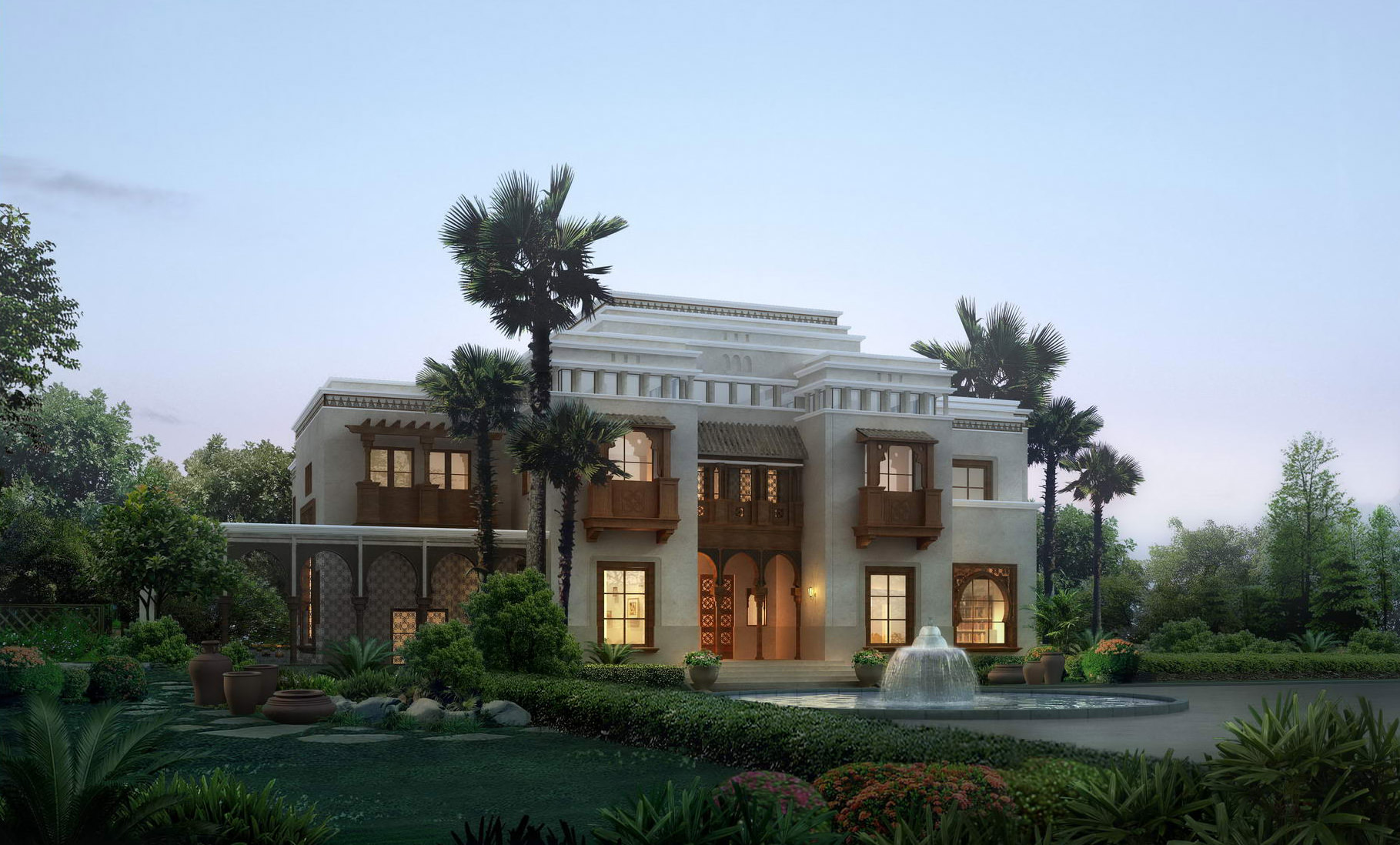 Luxury villa with palm tree 3d model max for Luxury home models