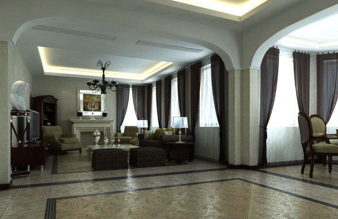 High End Living Room Interior With Sculpture 3d Model Max