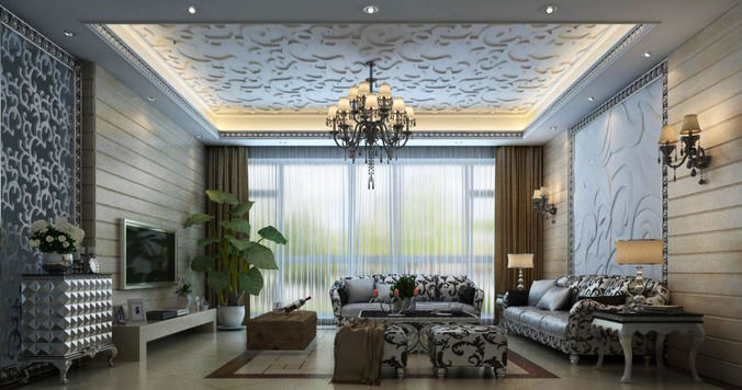 Grand Living Room Interior with Furniture3D model