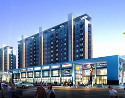 3d modern shopping mall with building complex