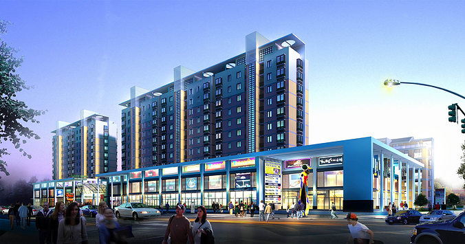 Modern shopping mall with building complex 3d model max 3ds for Exterior 3d model