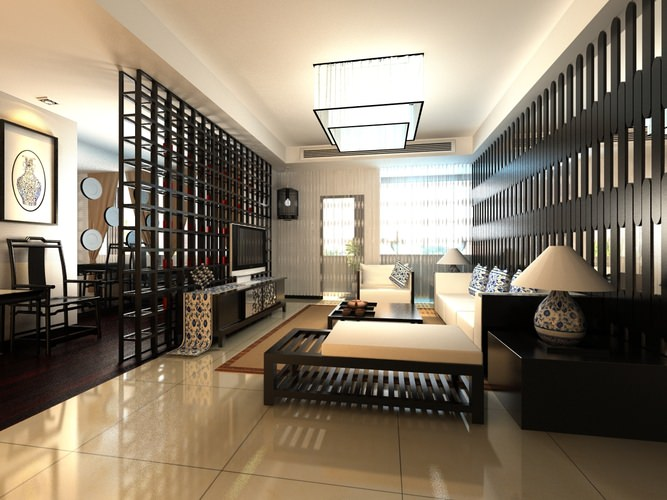 High End Living Room Interior With Chandelier 3D Model MAX