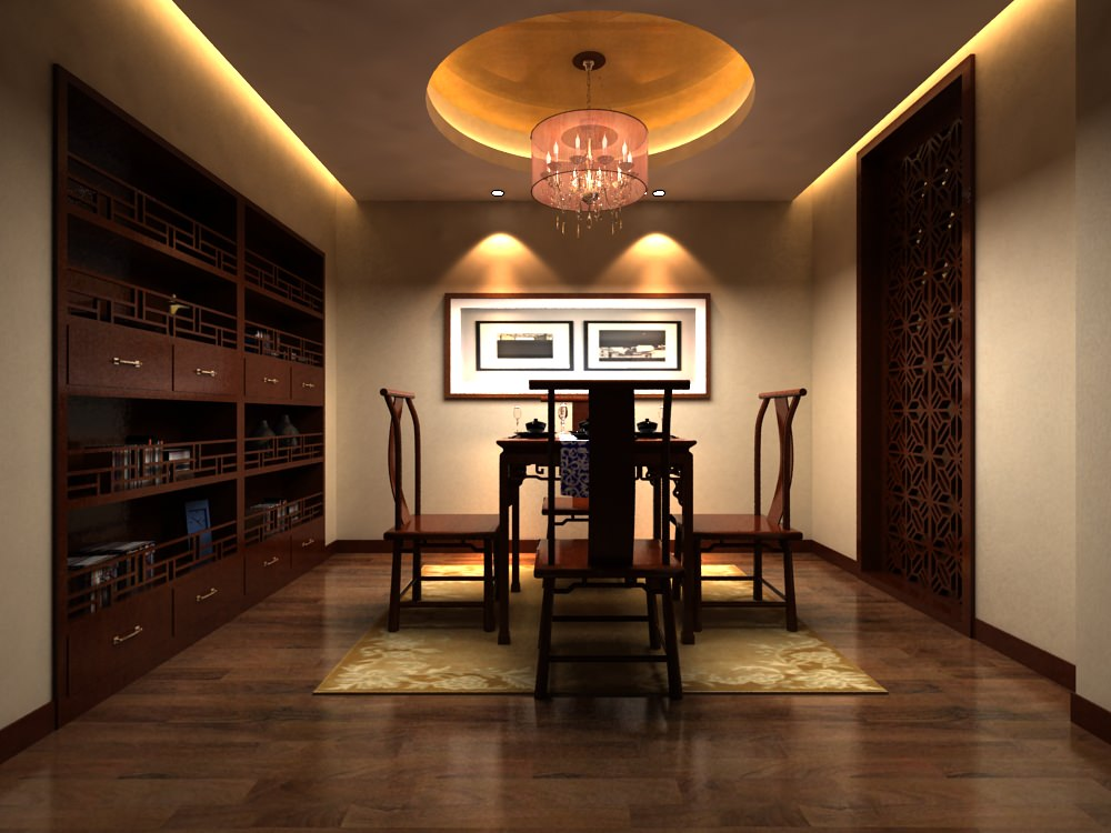 High End Dining Room Interior With Painting Model Max