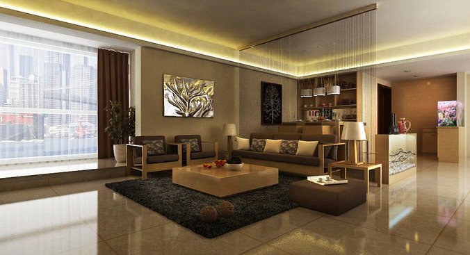 Drawing Room Interior With Carpet 3d Model Cgtrader