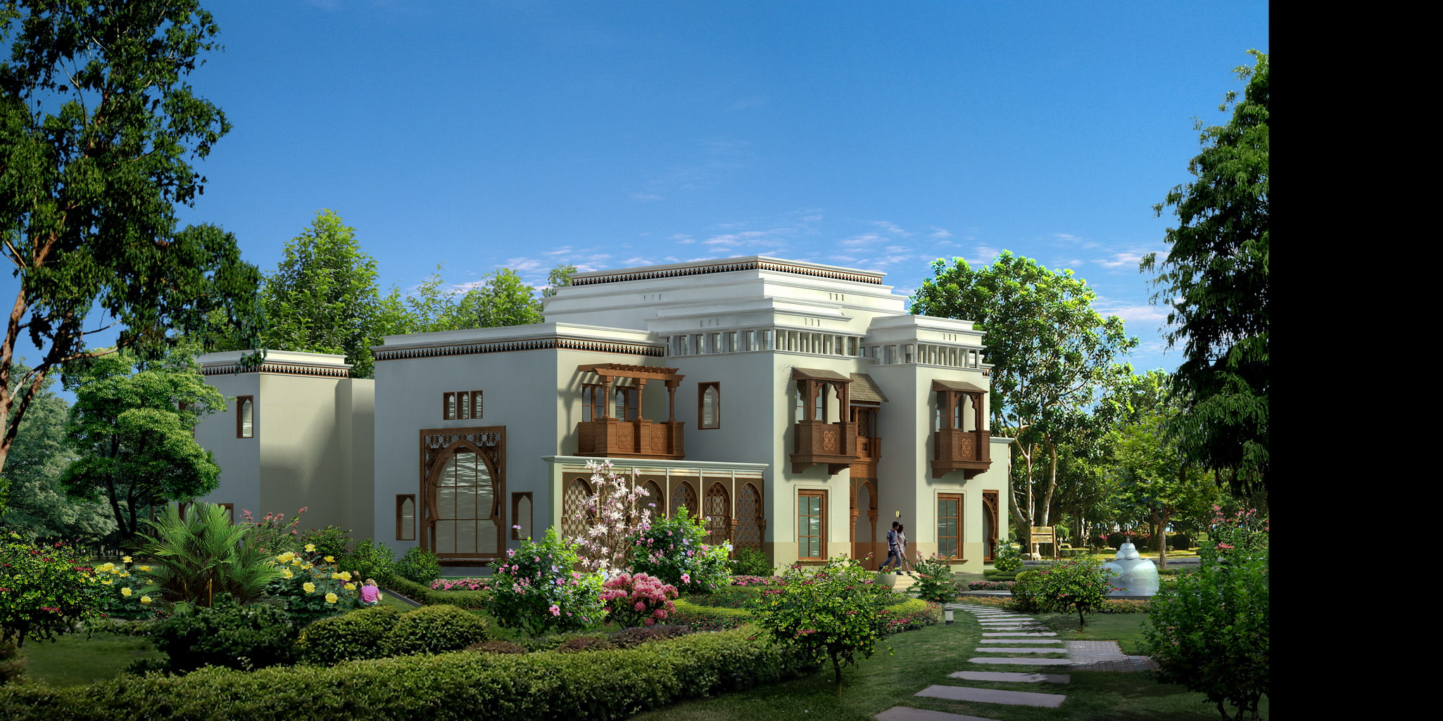 House 034 luxury countryside villa 3d model max for Luxury home models