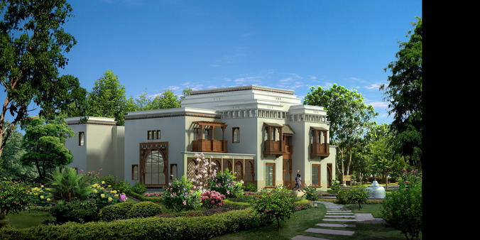 Luxury Countryside Villa 3D Model Max