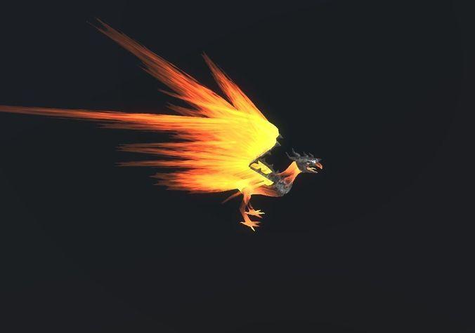 fire bird phoenix 3d model low-poly fbx unitypackage prefab 1