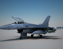 F-16 with Pilot 3D Model