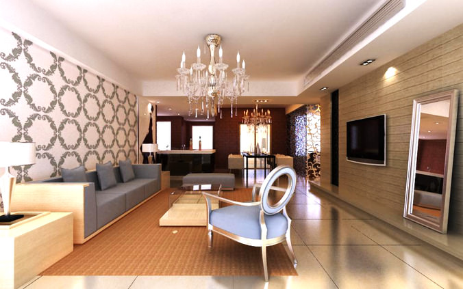 Living hall interior with chandelier 3d model max for Living hall interior