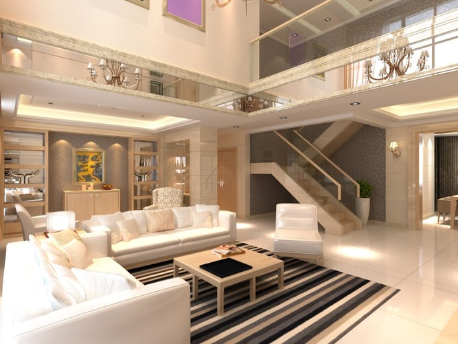 Elite living room interior with staircase 3d model max for Living with models
