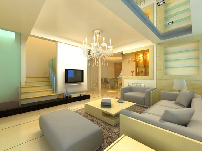 Modern living hall interior with sectional sofa 3d model max for Living hall interior