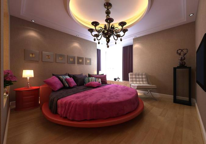 Modern bedroom interior with round bed 3d cgtrader for Model bedroom interior design