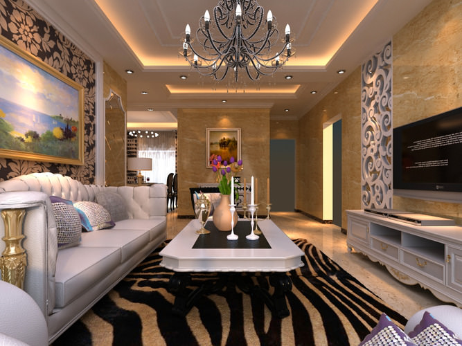 Modern Living Hall Interior with Tuxedo3D model