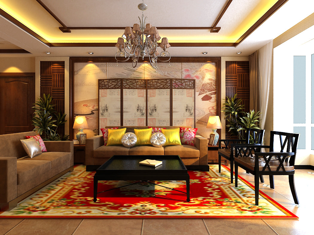 Modern living hall interior with carpet 3d model max for Living hall interior