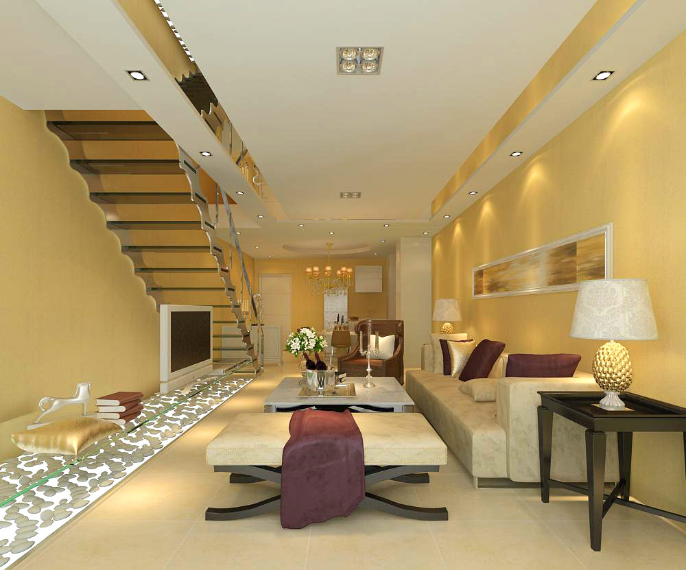 Home living room with stairs 512 3d model max - Stairs in a small space model ...