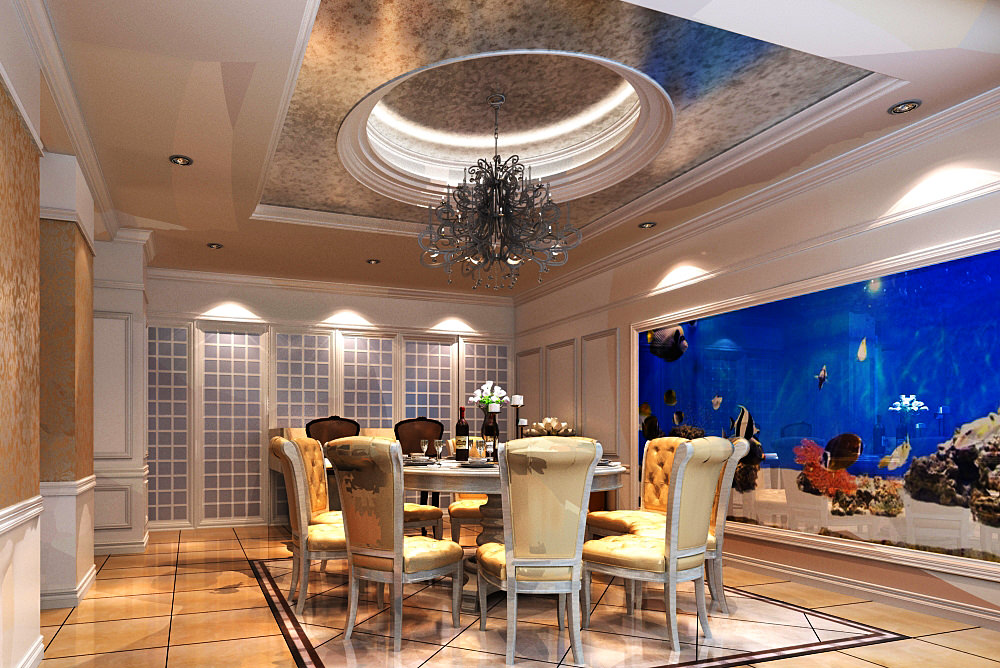 Home dining room with aquarium 1225 3d model max for Model home dining room
