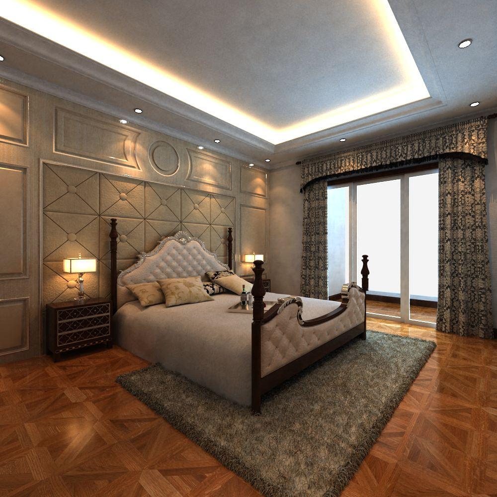 Posh Bedroom Interior With King Size Bed D Model MAX - Posh bedroom designs