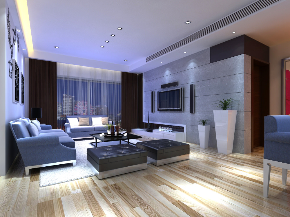 Posh living room interior with home theater 3d model max for Lounge for living room