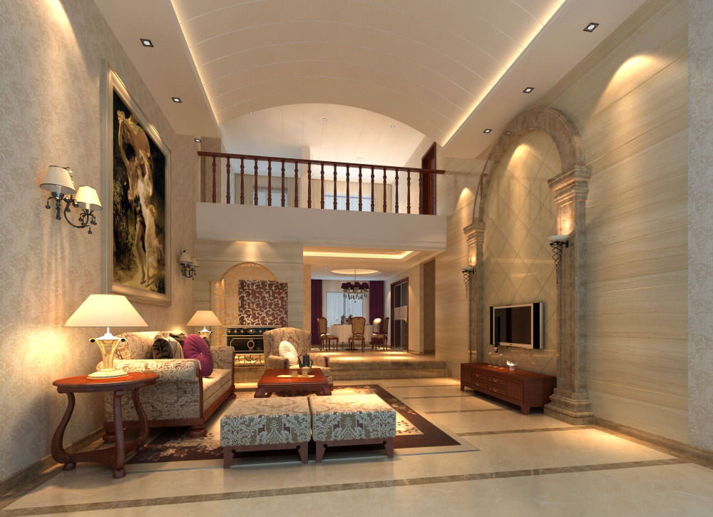 Fancy living room interior with posh rug 3d model max for Model interior design living room