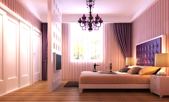 Home Bedroom with King Size Bed3D model