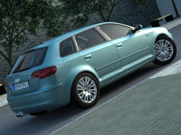 audi a3 sportback 2005 3d model animated rigged max obj 3ds fbx c4d. Black Bedroom Furniture Sets. Home Design Ideas