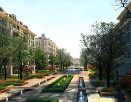 Building with Posh Street and Fountain 3D model