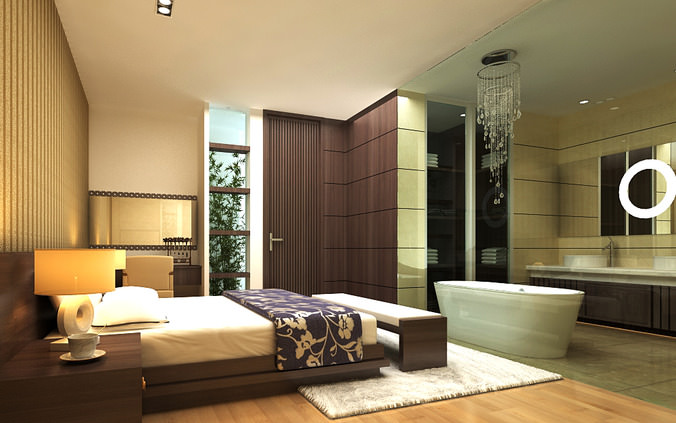 Elite Bedroom With Attached Bathroom 3D Model