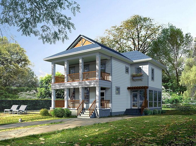 posh house exterior design 3d model max obj 3ds 1