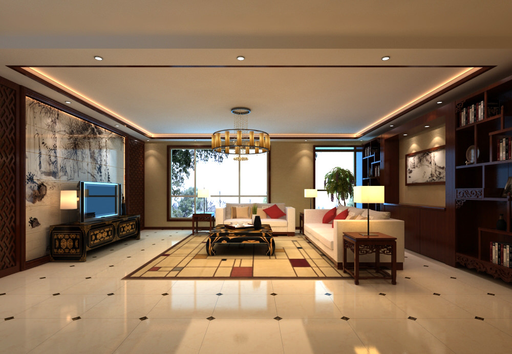 Elite living hall interior with cabinet for Living hall interior