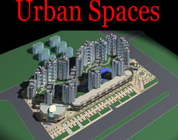urban designed town with high rise buildings 3d model