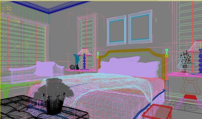 Deluxe bedroom with divan 3d model max for Bedroom divan