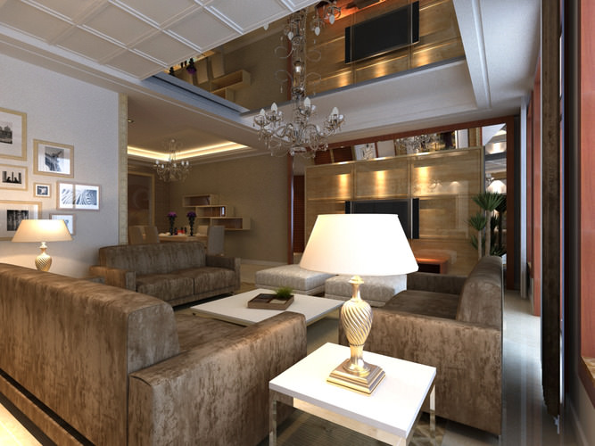 deluxe living room with ceiling mirror 3d model  1