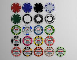 3d model gambling chips
