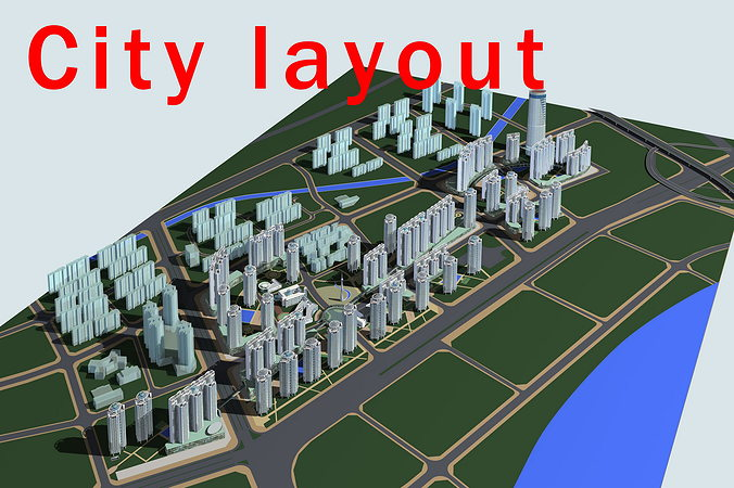city layout with posh buildings 3d model max 3ds 1