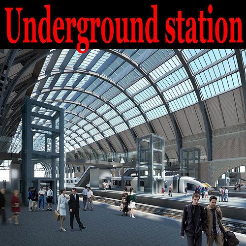 posh underground station 3d model max 3ds 1