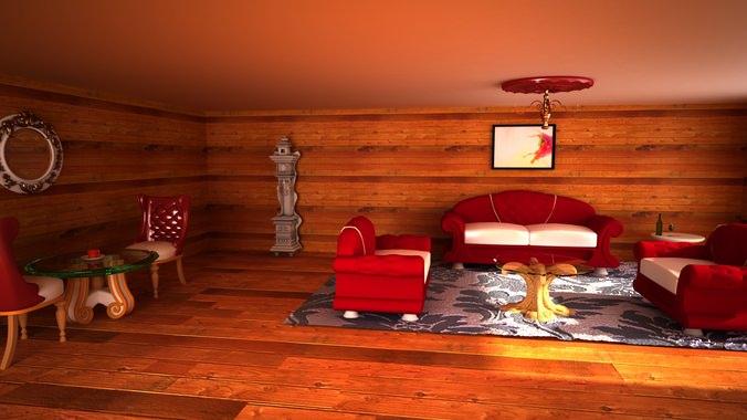 interier dark room3D model