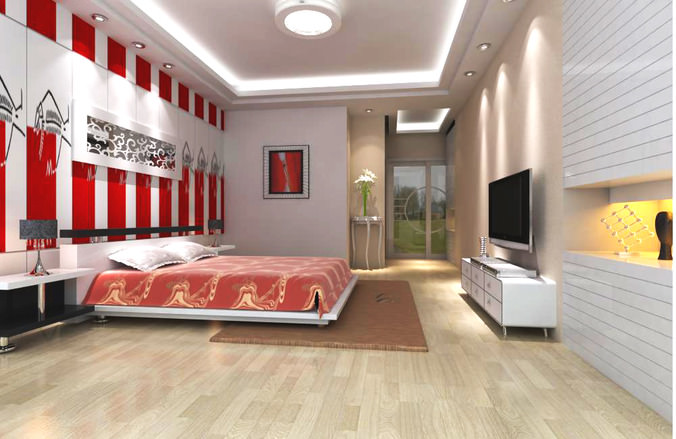 Posh bedroom with red striped wall 3d model cgtrader for Posh bedroom designs