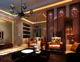 Eminent Home Drawing Room with Lamp 3D Model
