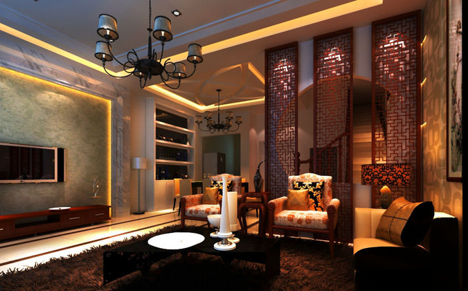 Eminent Home Drawing Room with Lamp3D model