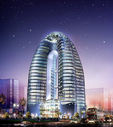 elite commercial tower with posh exterior 3d model max obj 3ds 1