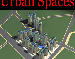 3d urban city design with luxury buildings