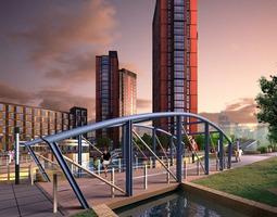 skyscraper with bridge design 3d model