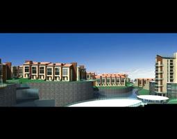 3d model multi-storey buildings with lake design