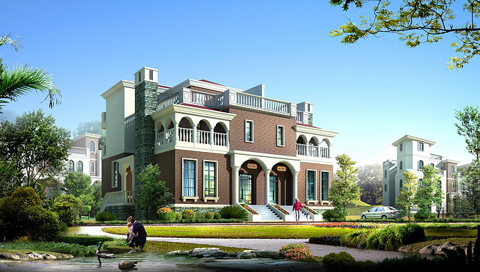 Exquisite Mansion Design With Front Yard 3d Model Max 3ds