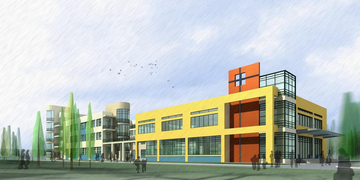 School Building Design With Playground