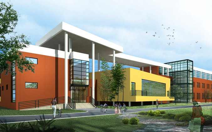 School Building Design With Playground 3D Model max 3ds
