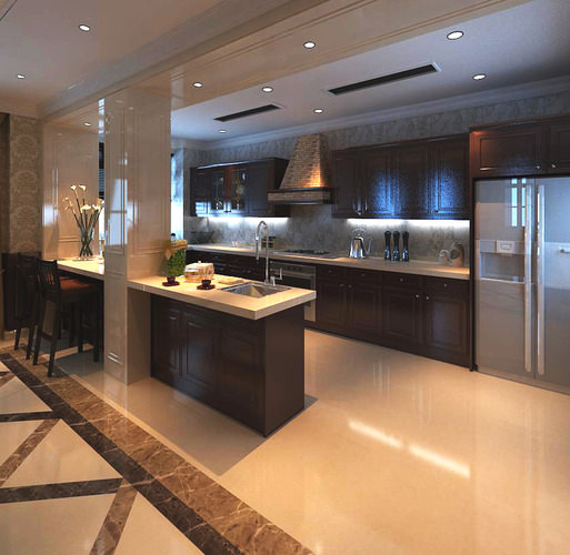 Ritzy Kitchen With Marble Floor 3D